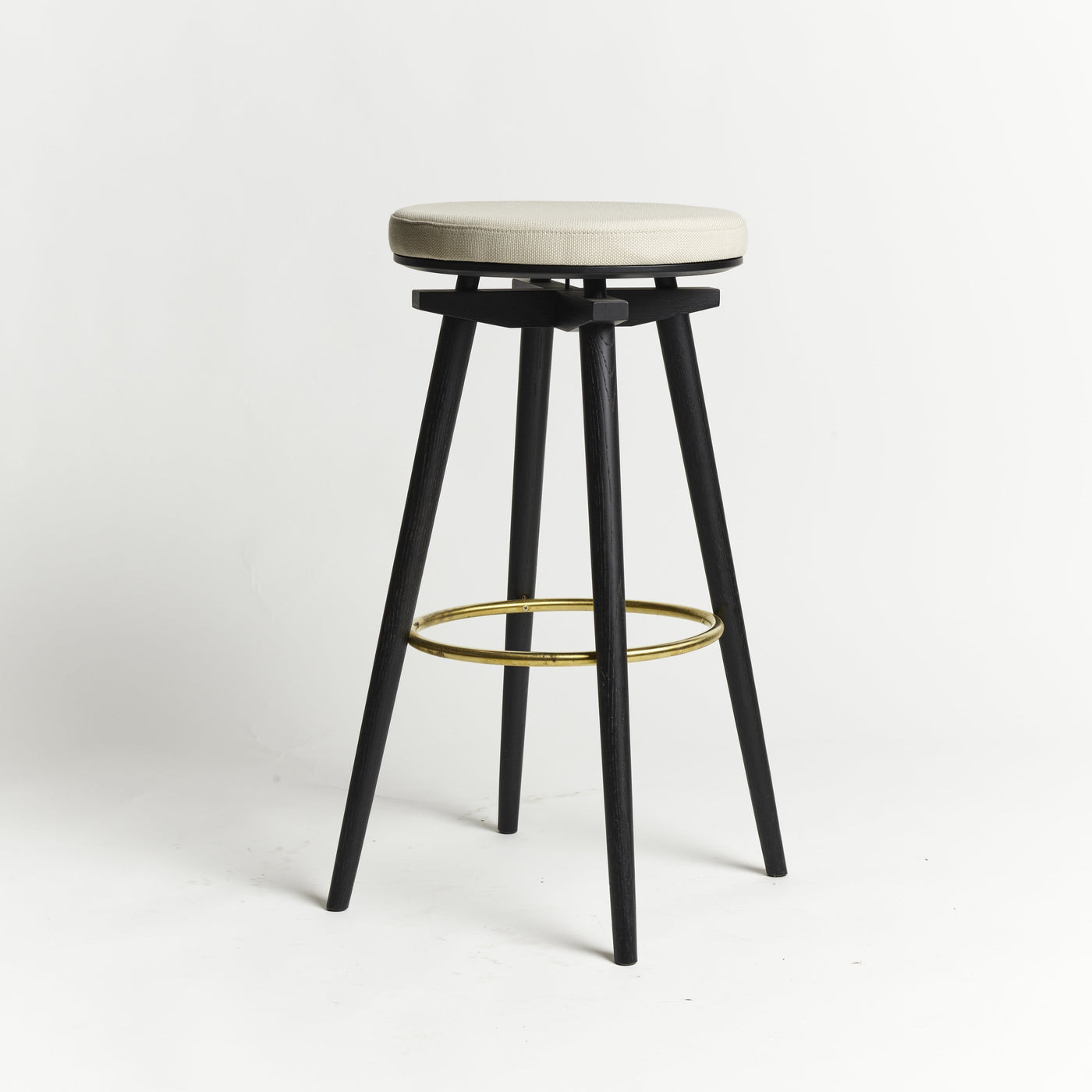 CC Barstool black oak brass ring upholstered seat Rohi textile snow - seating height 75 cm