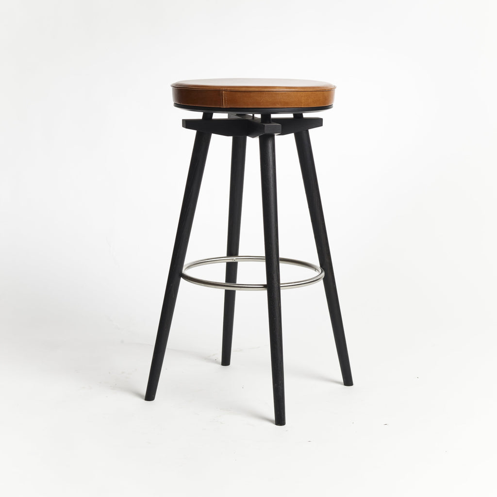CC Barstool black oak metal ring upholstered seat Mastrotto leather cognac - seating height 75 cm
