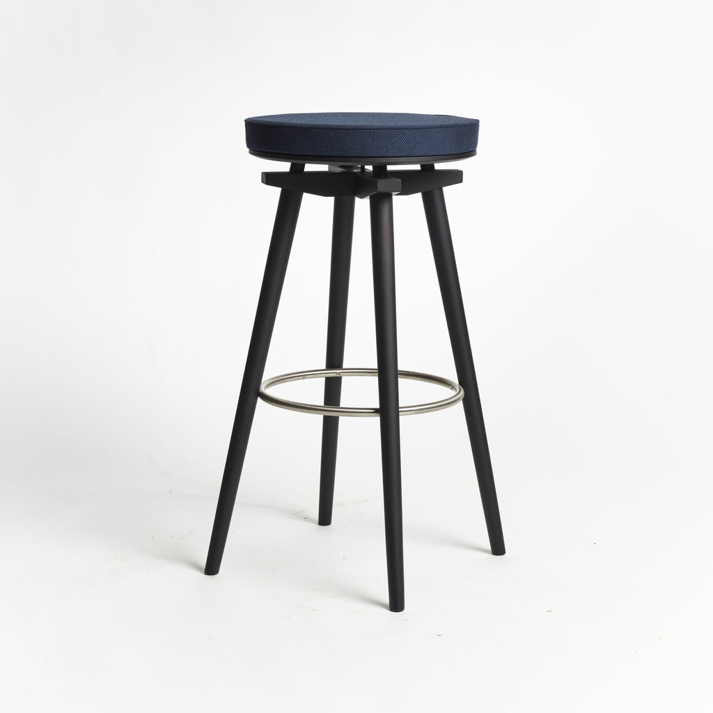 CC Barstool black oak metal ring upholstered seat Rohi textile azur - seating height 75 cm
