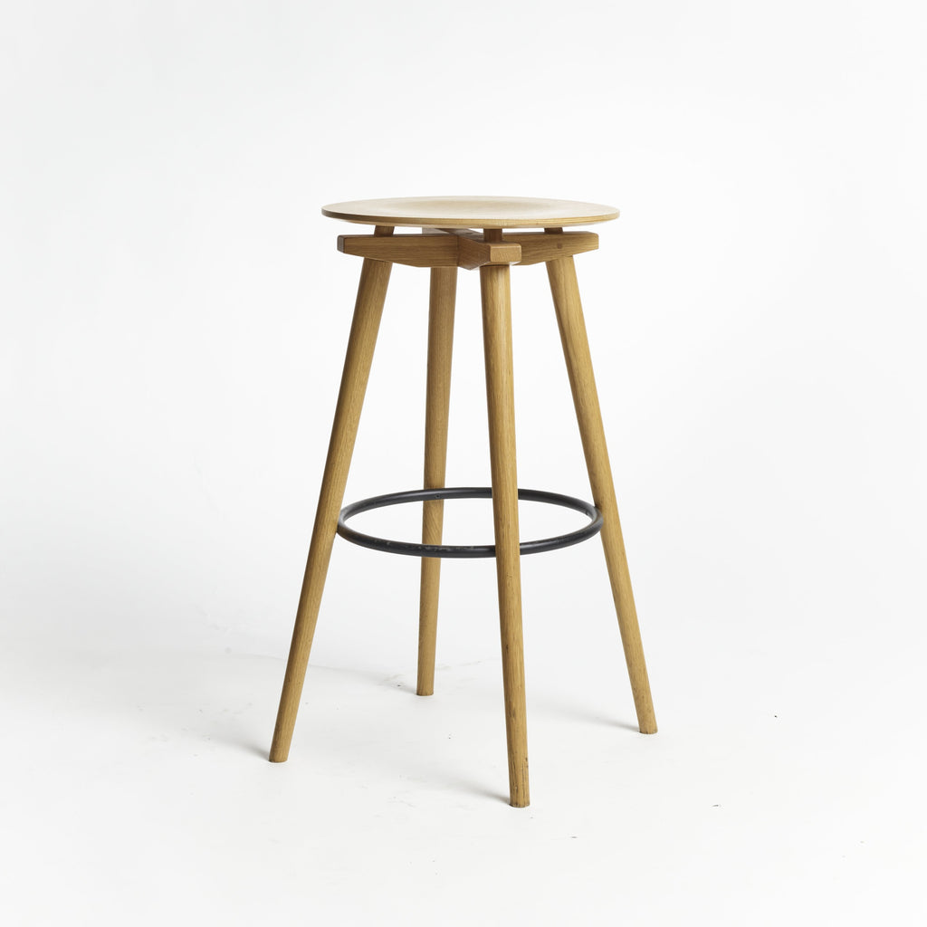 CC Barstool natural oak black ring - seating height 75 cm
