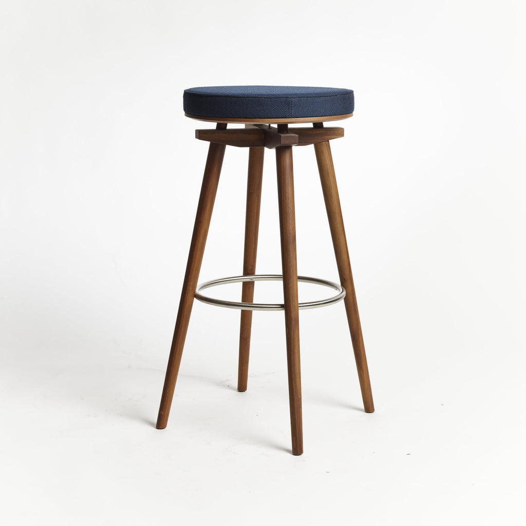 CC Barstool natural walnut metal ring upholstered seat Rohi textile azur - seating height 75 cm