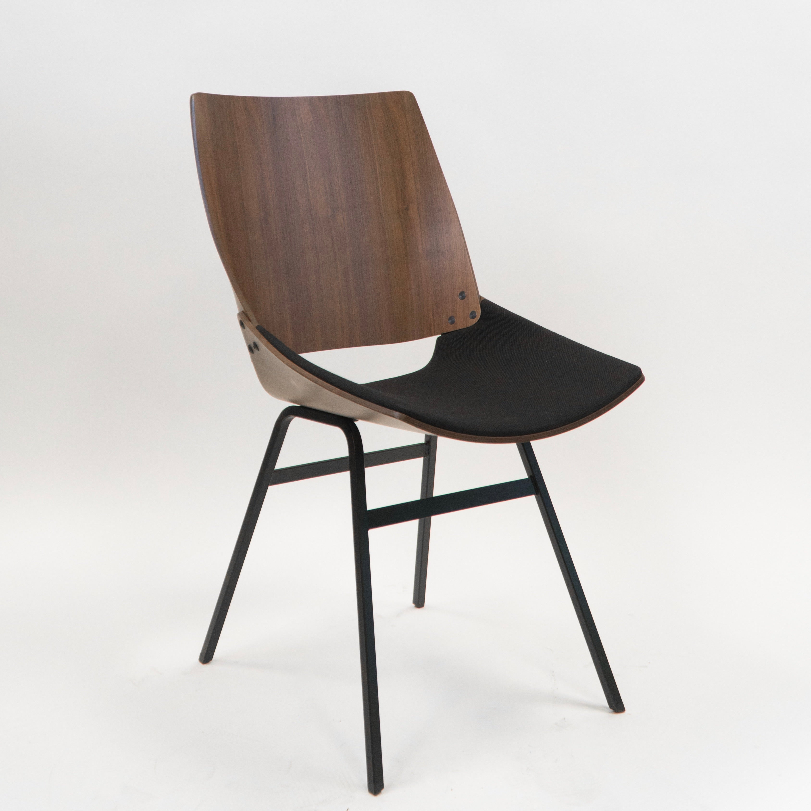 Shell Chair natural walnut upholstered textile seat Rohi black