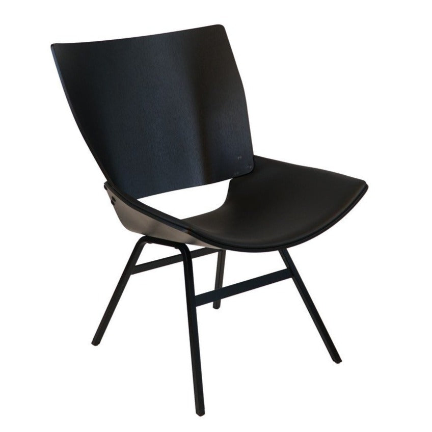 Shell Lounge Chair black leather seat black
