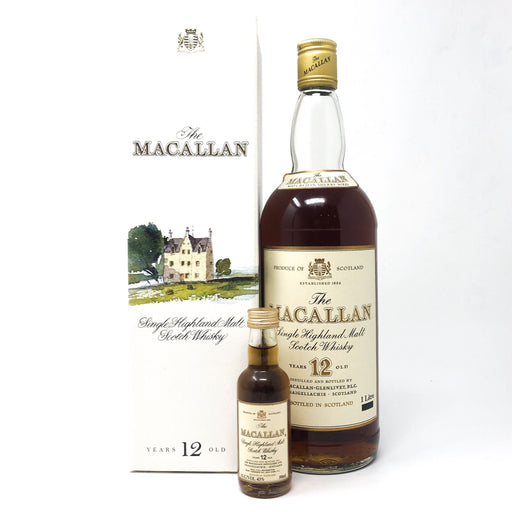 Macallan 12 Year Old Sherry Wood 1980s 1 Litre & Miniature Whisky Old and Rare Whisky