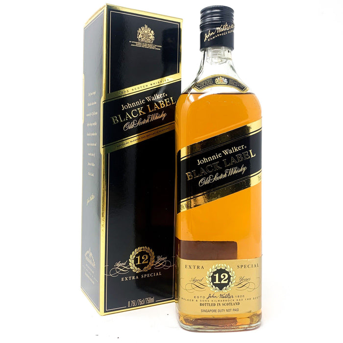 Johnnie Walker 12 Year Old Black Label 75cl Old Style Whisky Old and Rare Whisky