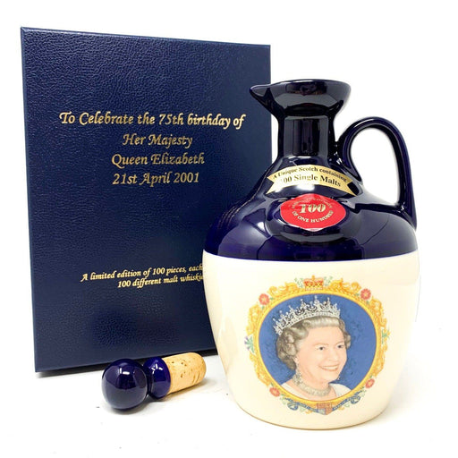 Rutherford's 100 Single Malt Blend Decanter Queens 75th Birthday Whisky Old and Rare Whisky