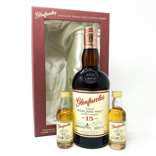 Glenfarclas 15 Year Old Gift Set with 21y and 25y miniatures Whisky Old and Rare Whisky