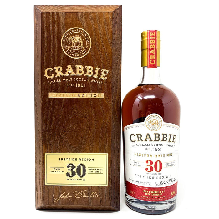 Crabbie 30 Year Old Speyside Single Malt 70cl Whisky Old and Rare Whisky