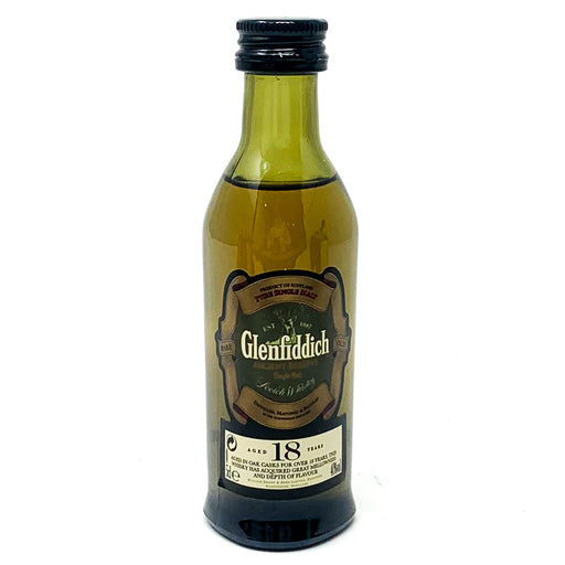 Glenfiddich 18 Year Old Single Malt Scotch Whisky, Miniature, 5cl, 40% ABV