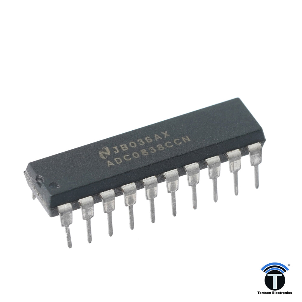 The ADC0838 series are 8-bit successive approximation A/D converters with a serial I/O and configurable input multiplexers with up to 8 channels.