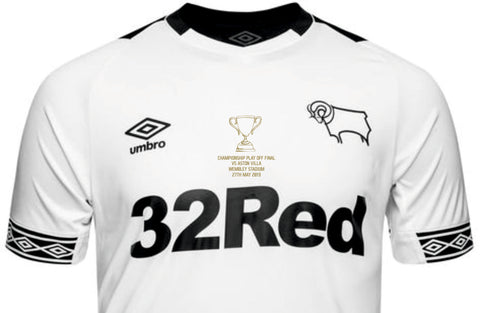 Derby County Play Off Final Iron On Motif Transfer - Gold