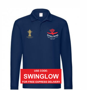 England RWC Final Navy Long Sleeve Polo Top