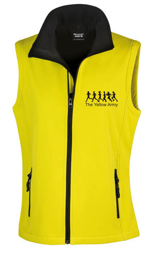 Yellow Army Ladies Soft Shell Gilet