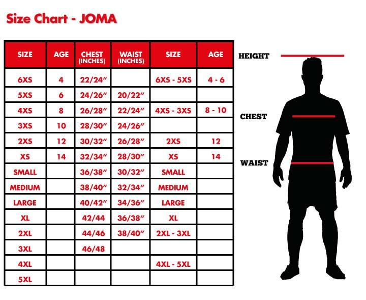 Image result for JOMA SIZE GUIDE