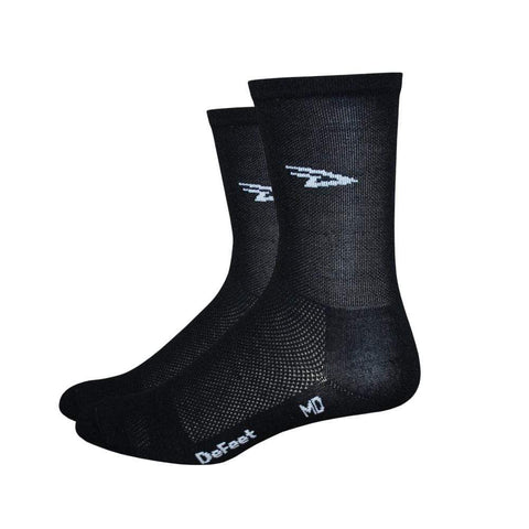 DeFeet Socks DeFeet Aireator Tall Cuff Socks - D-Logo Black