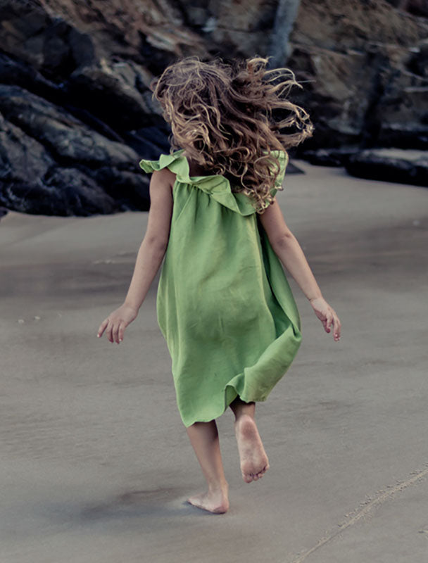 Linen Ruffle Dress - Green