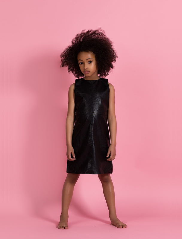 Vegan Leather Dress - Black