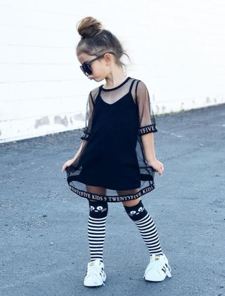 LOGO MESH COVER DRESS + TANK TOP-DRESSES-9 Twenty Five Kids-NINOCRUZ