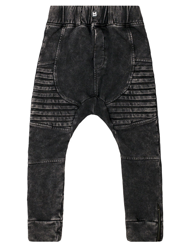 Biker Pant | Acid Wash Black