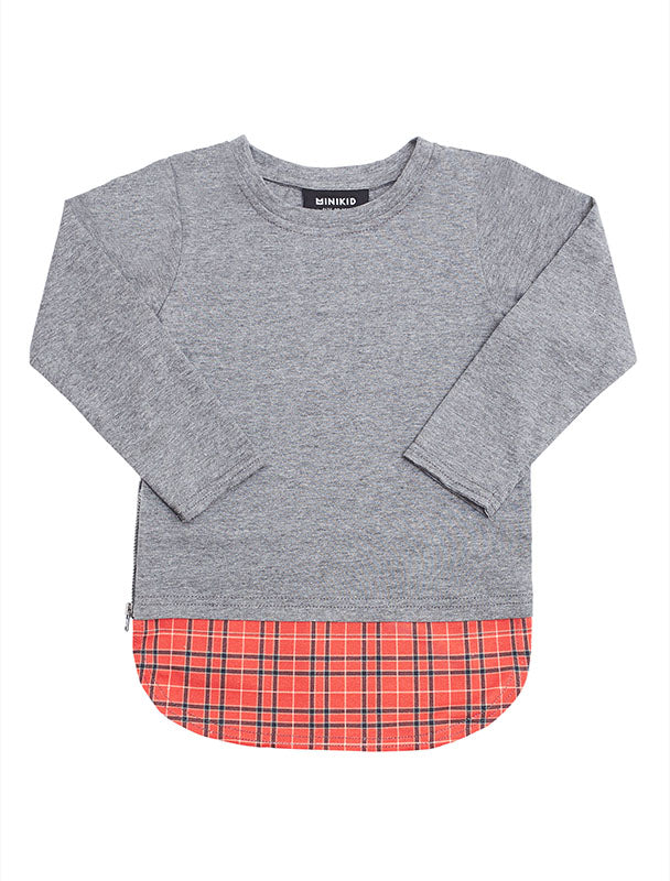 L/S Tee | Grey & Checkered Red