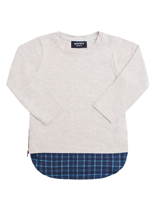 L/S Tee | Grey Navy Check