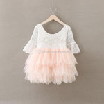 Christmas Baby Girls Crochet Lace tulle Dresses Kids Girl Princess tutu Floral Dress Girl Autumn Pearl Party Dress 2016 Babies clothes