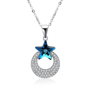 S925 Silver Necklace Blue Stone Heart Folder
