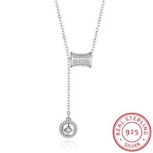 S925 Silver Necklace Hanging Button Necklace