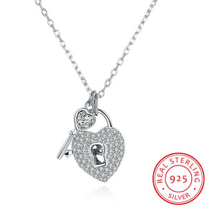 S925 Silver Necklace Lock Head Necklace
