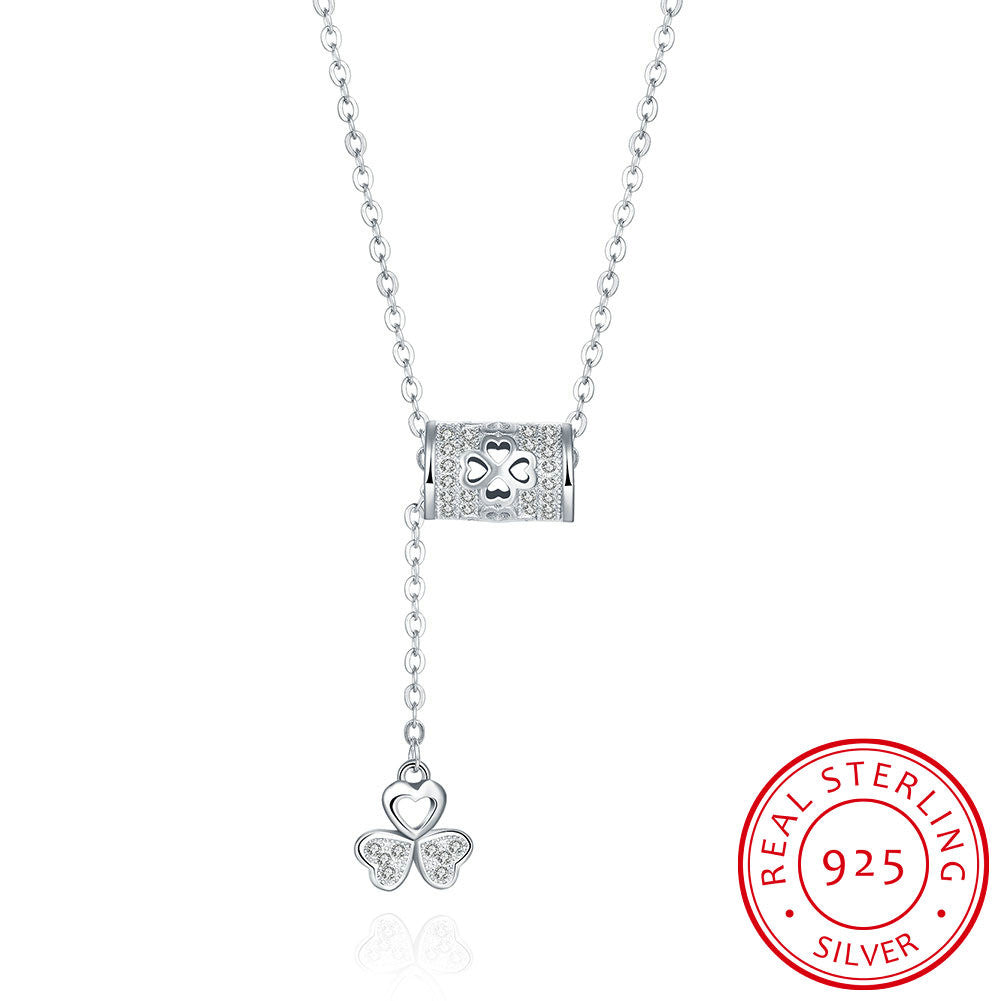 S925 Silver Necklace Hanging Clover Necklace