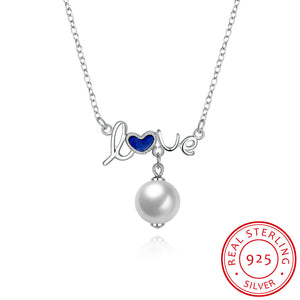 S925 Silver Necklace Love Pearl Necklace