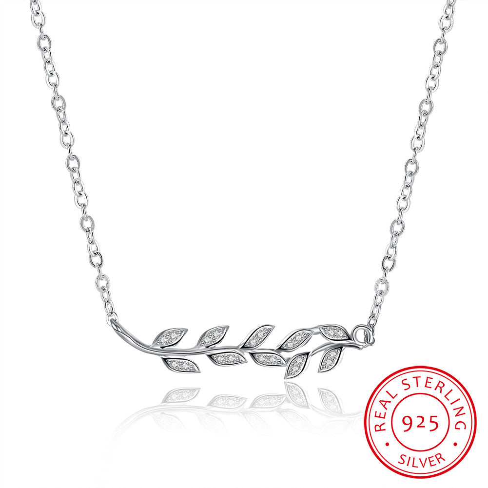 S925 Silver Necklace Olive Branch Necklace