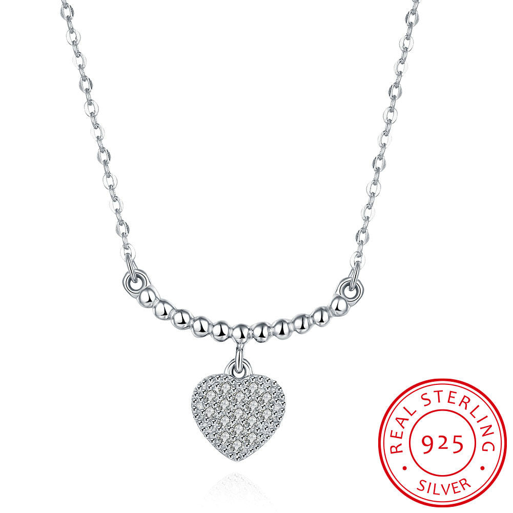 S925 Silver Necklace Hanging Heart Necklace
