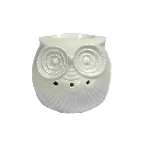 Classic White Owl Oil Burner with 1 essential oil.