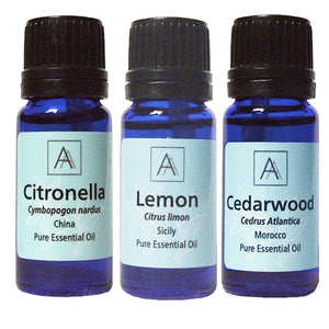 Citronella, Tea tree and Cedarwood Essential Oils
