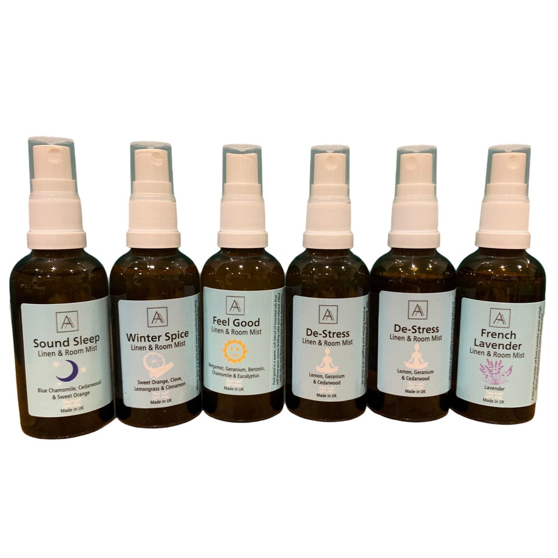Complete Set - Feel Good, Deep Sleep, De-stress, Lavender Winter Spice and Sound Sound Linen and Room Mist Set