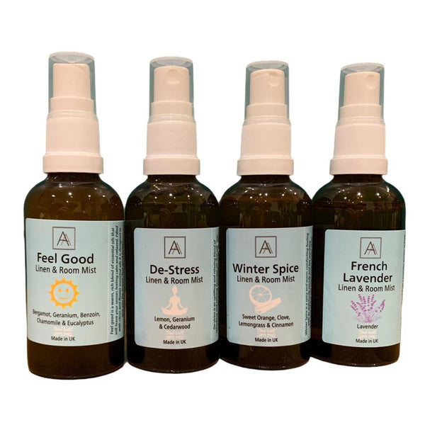 Feel Good, De-stress Lavender and Winter Spice Linen and Room Mist Set