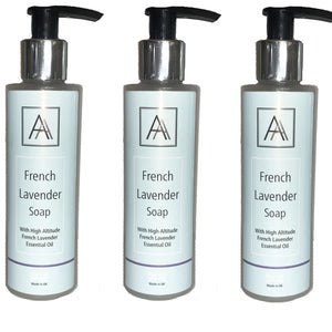 3 x 150ml French Lavender anti-bacterial Hand, Face and Body Soap