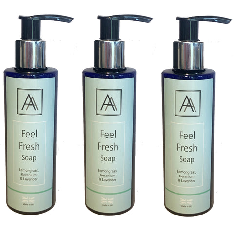 3 x 150ml Feel Fresh anti-bacterial Hand, Face and Body Soap