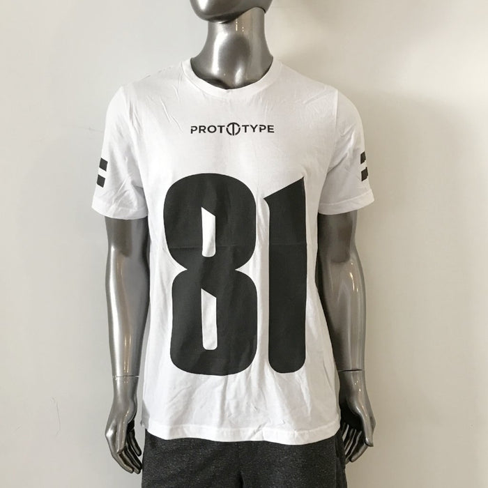 "Jersey Tee - ""81"" on front, ""Owens"" on back. 100% cotton."