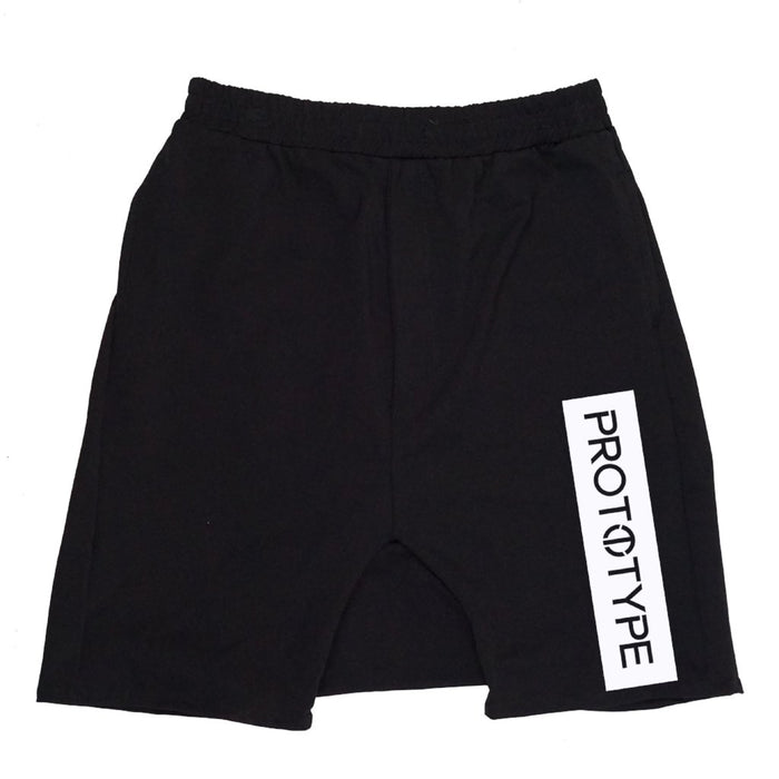 Spectre Shorts - PMM17800. Drop crotch shorts in heavy stretch ponte de roma. Black with white printed Prototype log on right leg. 2 front pockets.  2 back pockets.