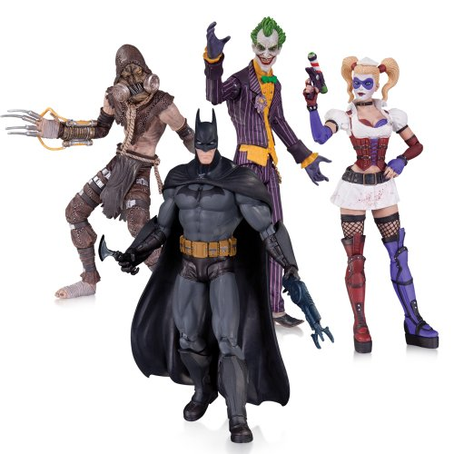 DC Collectibles Arkham Asylum Joker Harley Quinn Scarecrow and Batman Action Figure 4 pack