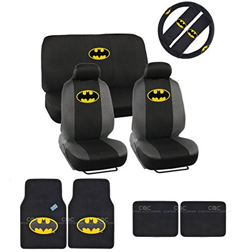 Warner-Brothers-Batman-Seat-Cover-Floor-Mat-for-Car-Universal-Fit-Auto-Accessories-w-Belt-Pad-Steering-Wheel-Cover-0
