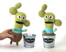 Load image into Gallery viewer, Crochet PATTERN - KISHKASHTA (Cactus guy) in a metal pot