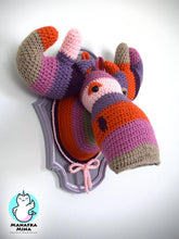 Load image into Gallery viewer, Crochet Color Block Moose Head in a Light Purple Frame