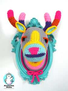 Crochet Color Block Deer Head in a Turquoise Frame