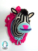 Load image into Gallery viewer, Crochet Zebra Head in a Hot Pink Frame