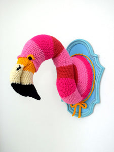 Crochet Faux Taxidermy Flamingo Head in a Light blue Frame