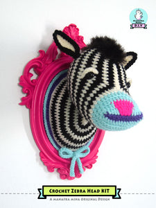 DIY Crochet Kit: Faux Taxidermy Crochet Zebra Head in a Vintage Style Frame