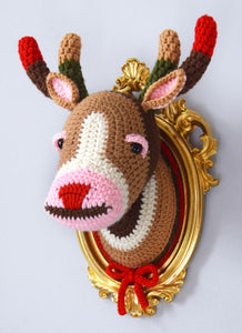 Color Block Deer Head in a Golden Vintage Style Frame